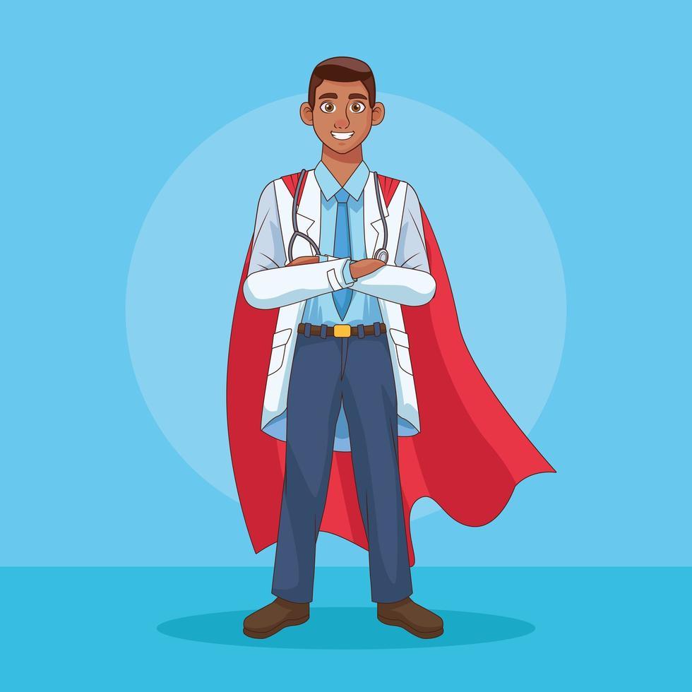 um médico com capa de herói vetor