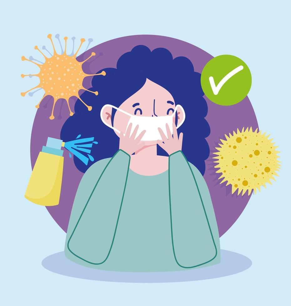 mulher com máscara protetora e ícones de vírus vetor
