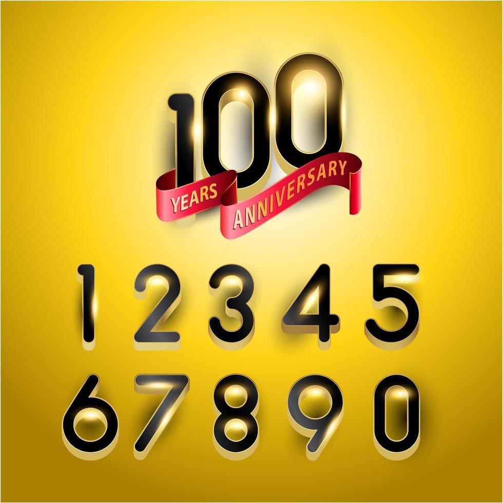 Números de aniversário de 100 anos de ouro com fita vermelha vetor