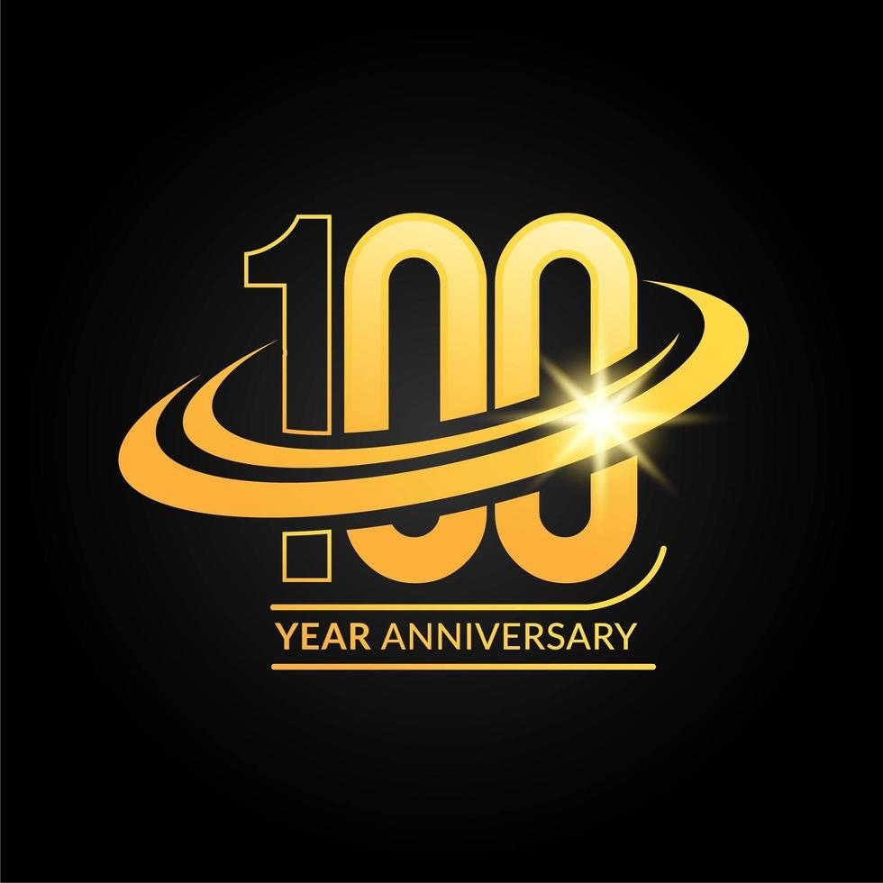 Emblema de aniversário de ouro dos 100 anos vetor