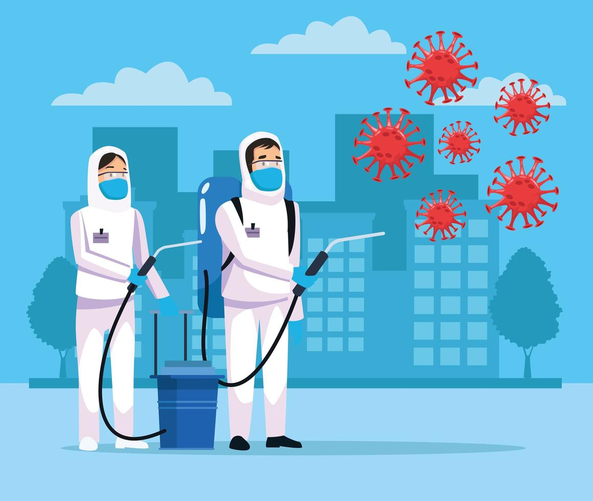 pessoas de limpeza de risco biológico e partículas de coronavírus vetor