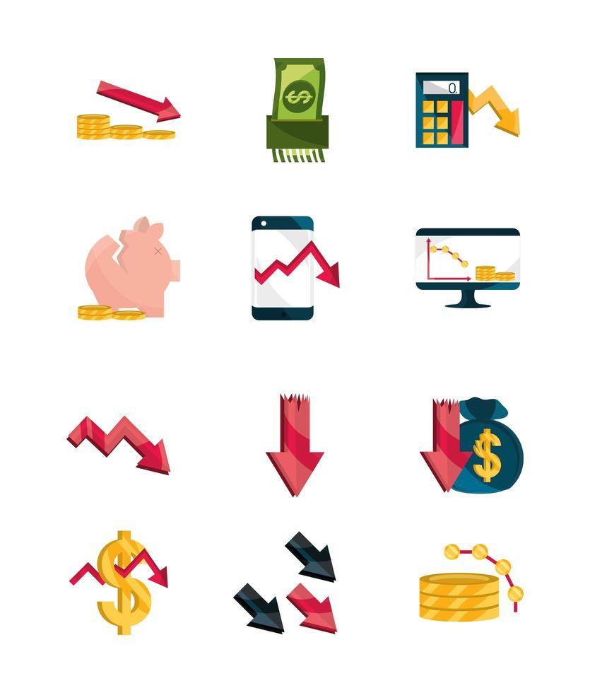 conjunto de ícones de crise financeira vetor