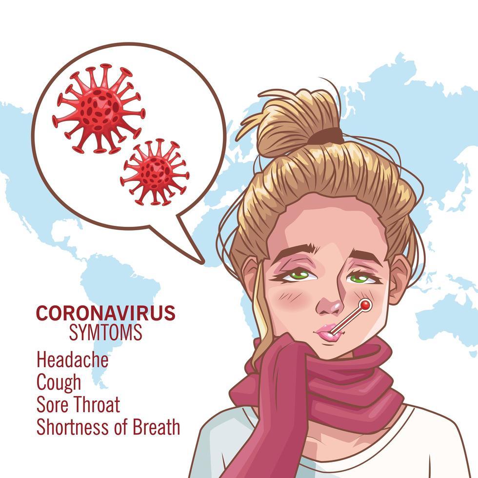 infográfico de coronavírus com personagem de mulher doente vetor