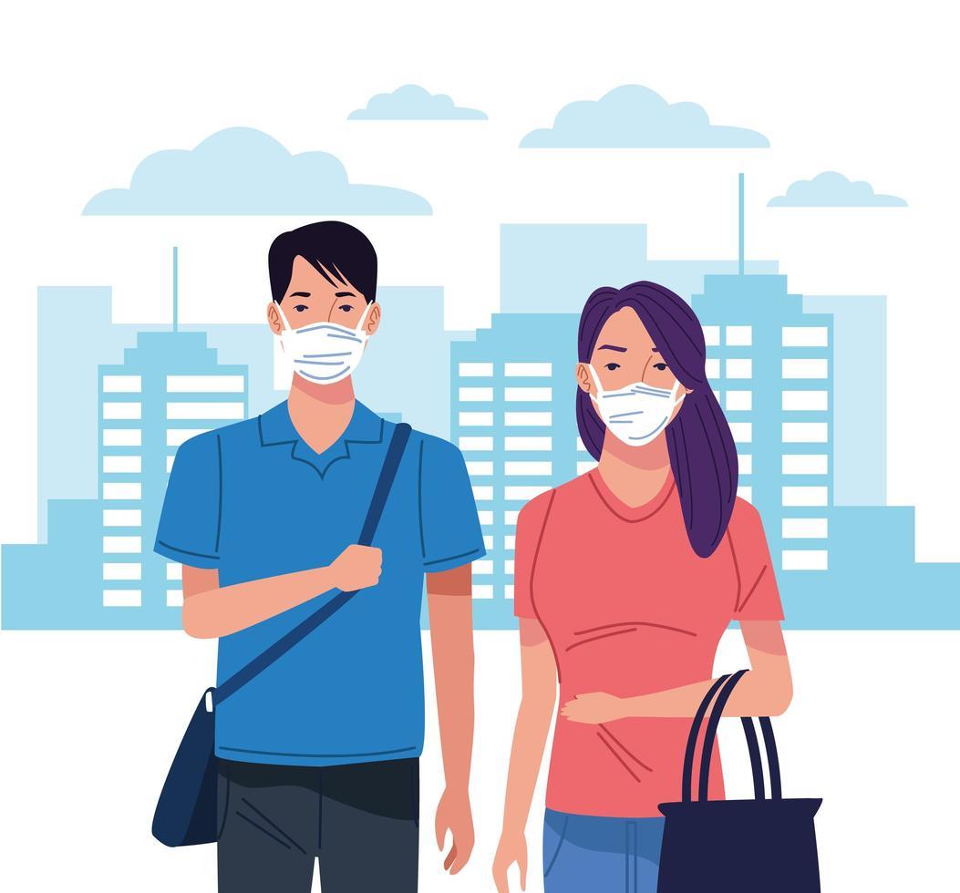 jovem casal usando máscara facial para coronavírus vetor