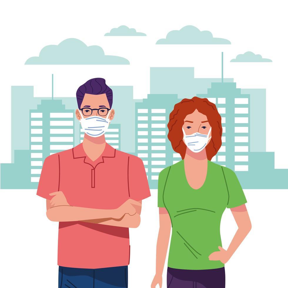 casal usando máscara facial para coronavírus vetor