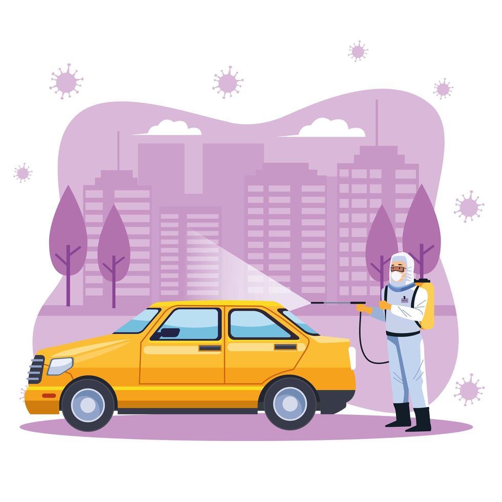 trabalhador de biossegurança desinfeta táxi vetor