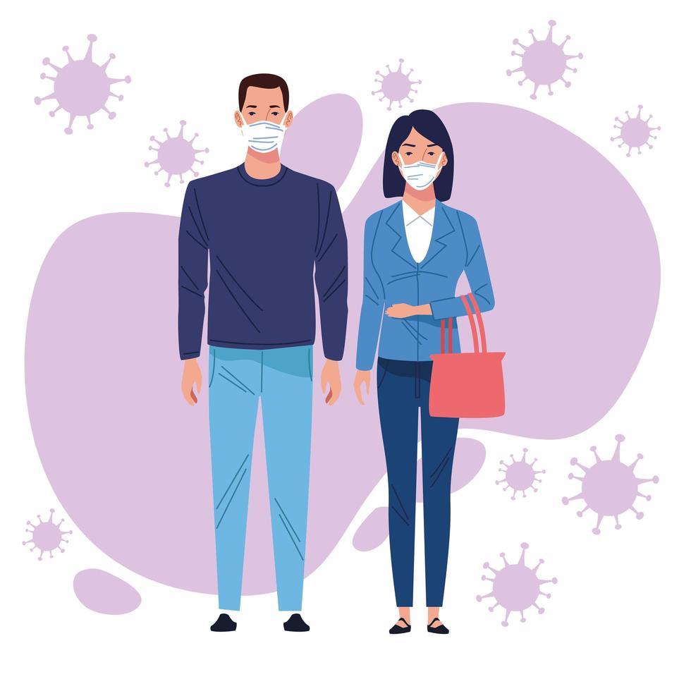 casal usando máscara médica para coronavírus vetor