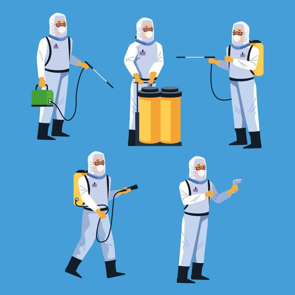 trabalhadores de biossegurança com equipamento de desinfecção vetor