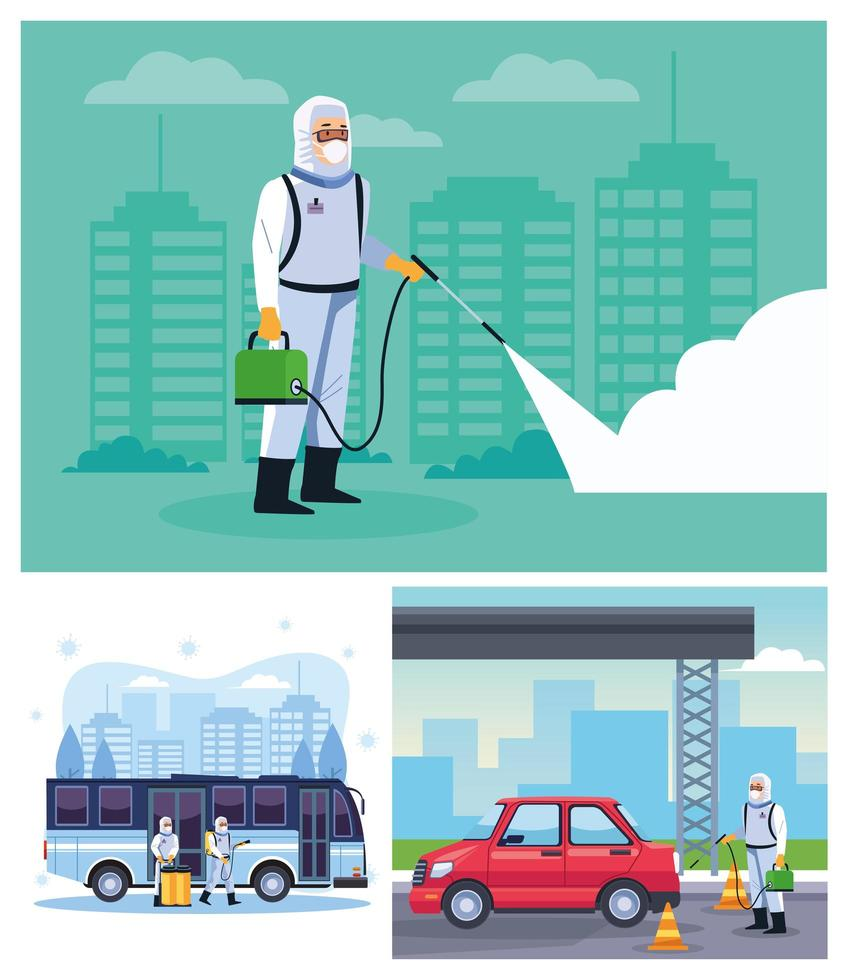 trabalhadores de biossegurança desinfetam ônibus e carros vetor