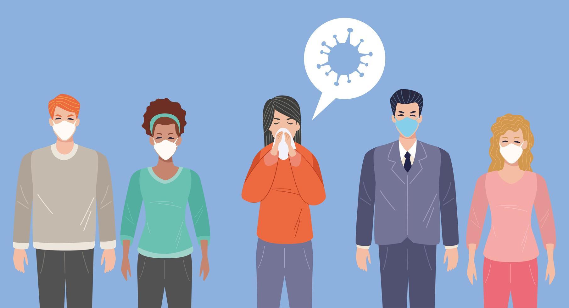 mulher doente com sintomas covid 19 e outros usando máscaras faciais vetor