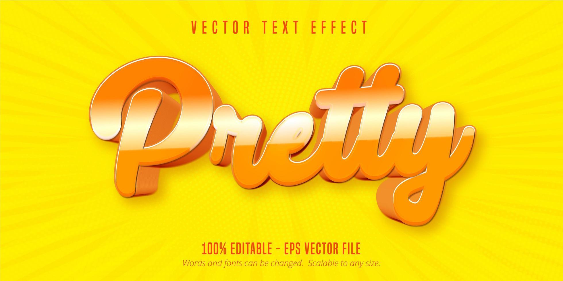 texto bonito, efeito de texto estilo desenho animado vetor