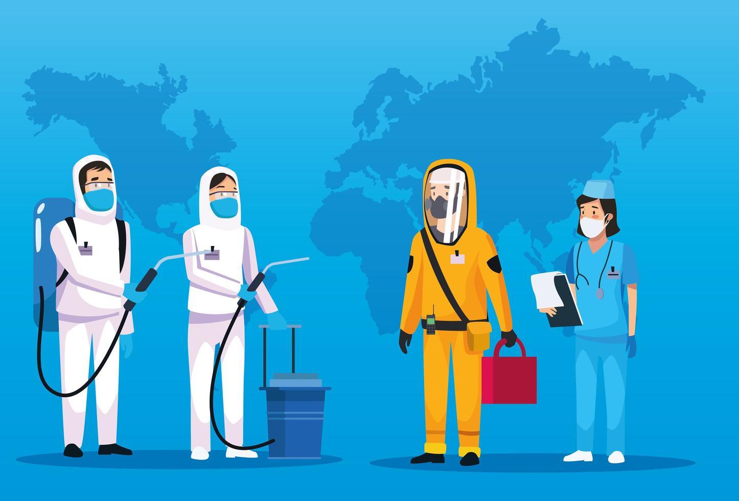 pessoas de limpeza de risco biológico com enfermeira e mapa mundial vetor