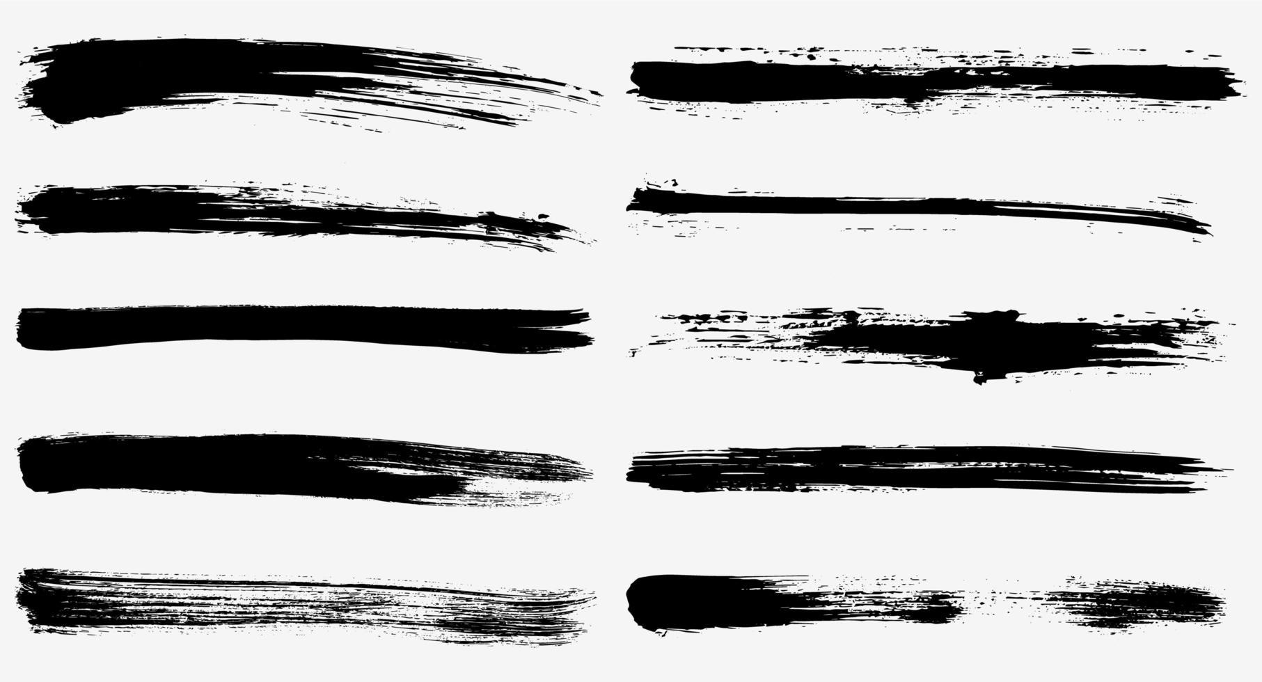 conjunto grunge de traços longos de tinta vetor