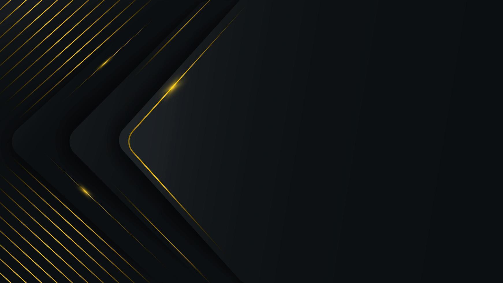 camadas abstratas de triângulo arredondado com linhas douradas vetor