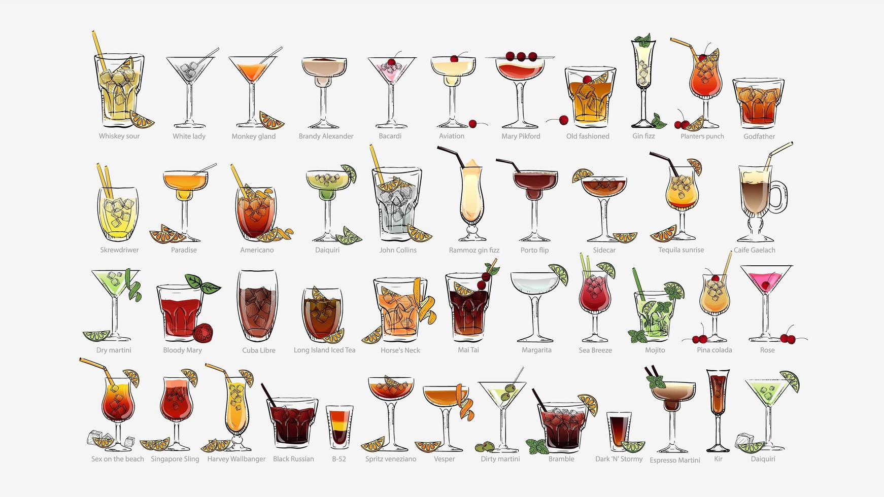 Conjunto de cocktails de estilo desenhado à mão vetor