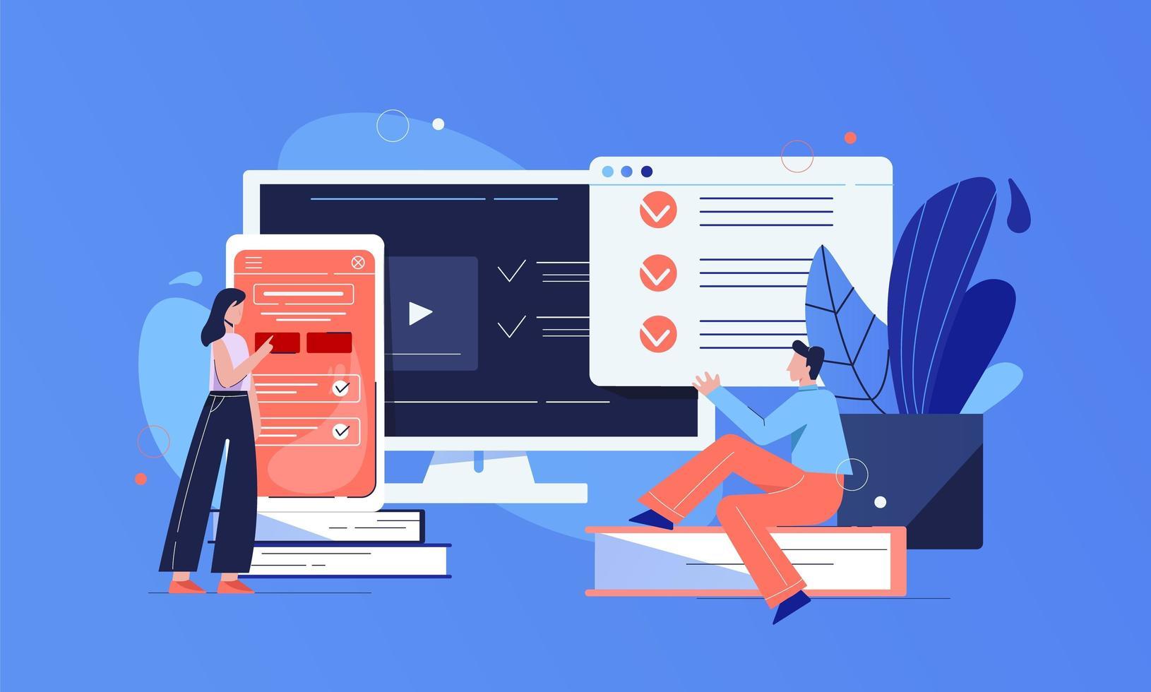 teste conceito de aplicação online vetor