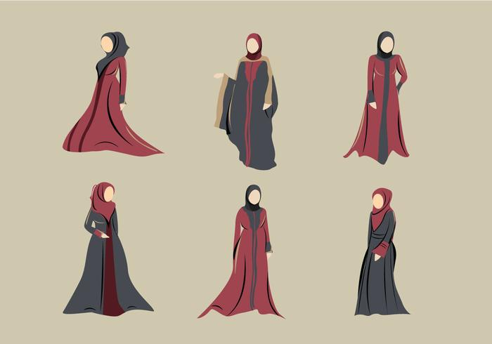 Abaya muçulmano hijab vestido vetor