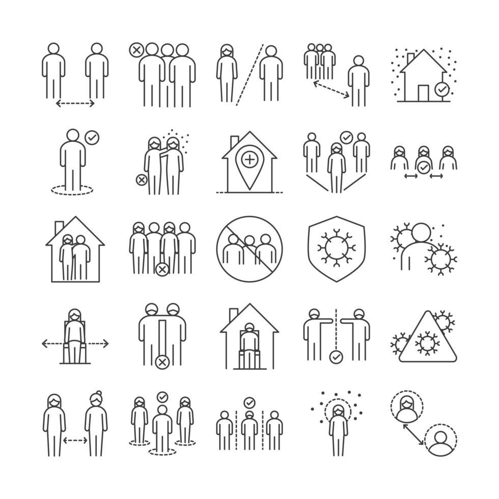 conjunto de ícones de coronavírus e distância social vetor