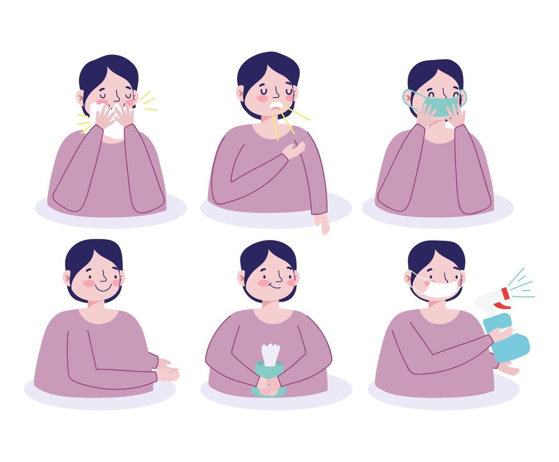 personagem masculino prevenindo infecção viral conjunto de ícones vetor