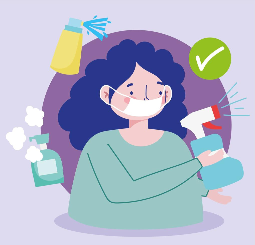 mulher com máscara facial e frascos de spray desinfetante vetor