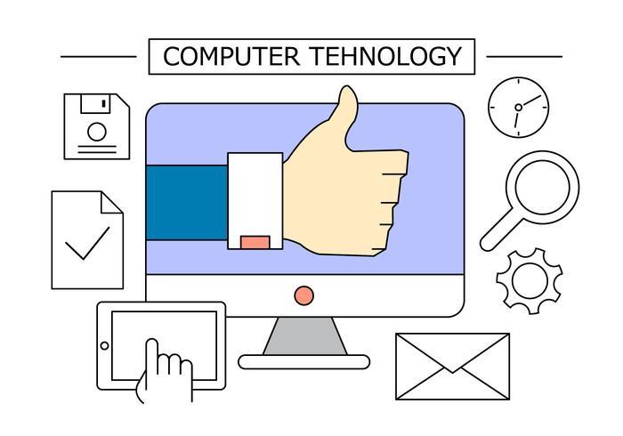 Ícones do Office de Tecnologia de Computadores vetor