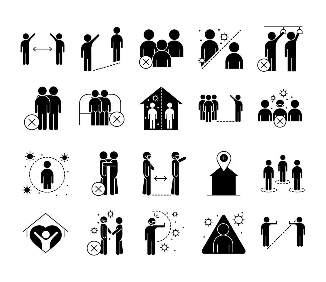 coleção de ícones de pictograma de silhueta de distância social vetor