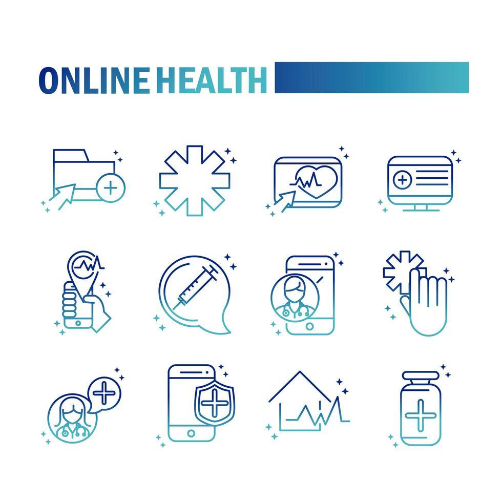 ícone de saúde e assistência médica online definido em estilo gradiente vetor