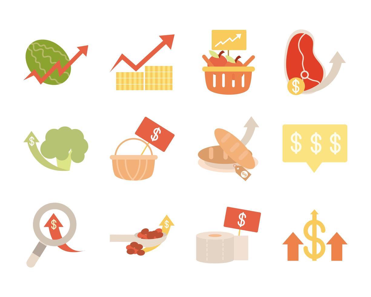pacote de ícones comerciais em alta nos preços dos alimentos vetor