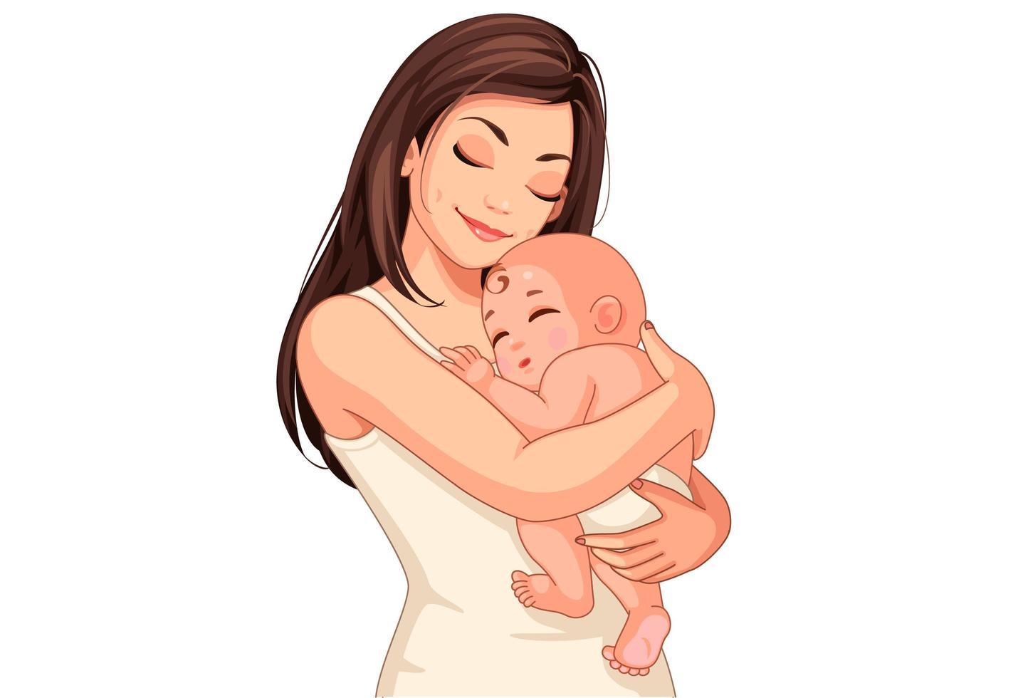 jovem mãe segurando um bebê vetor
