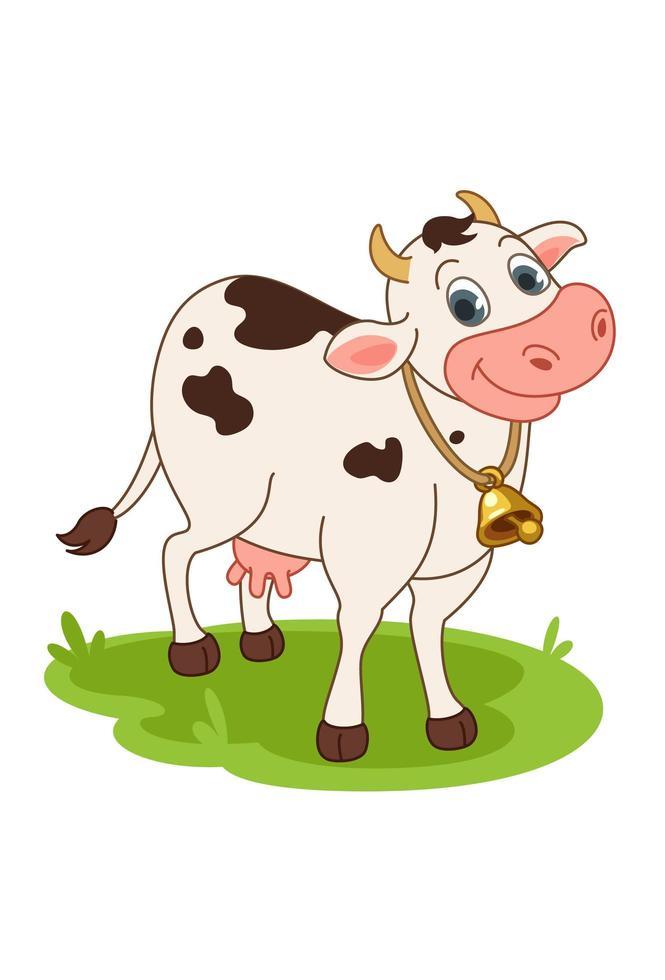 vaca sorridente ao ar livre vetor
