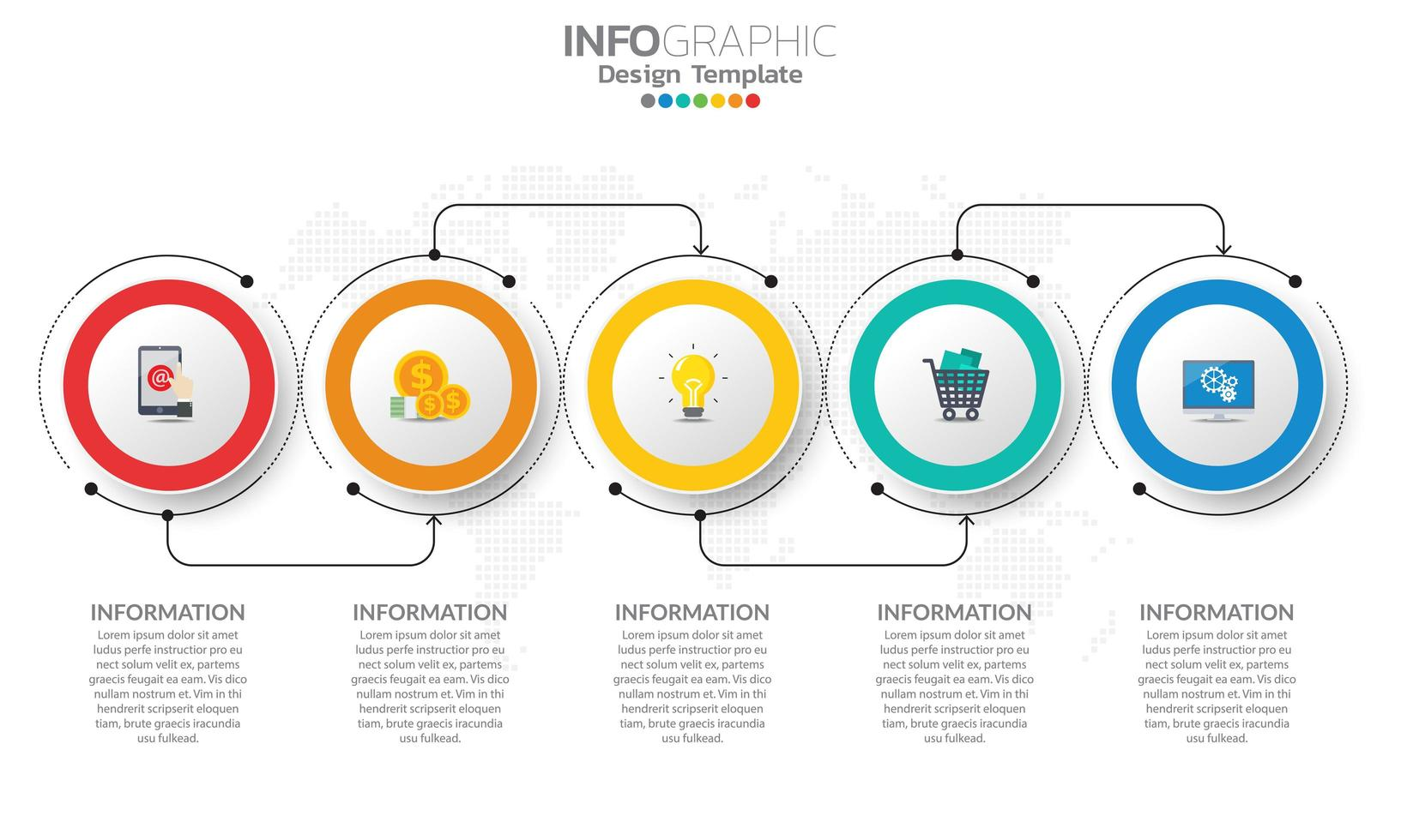 infográfico da linha do tempo com 5 círculos coloridos nas bordas vetor