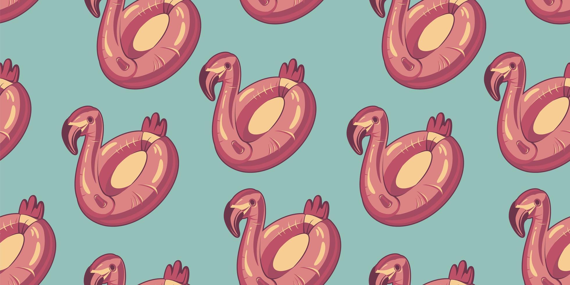 padrão sem emenda com flamingo rosa flutua no azul vetor