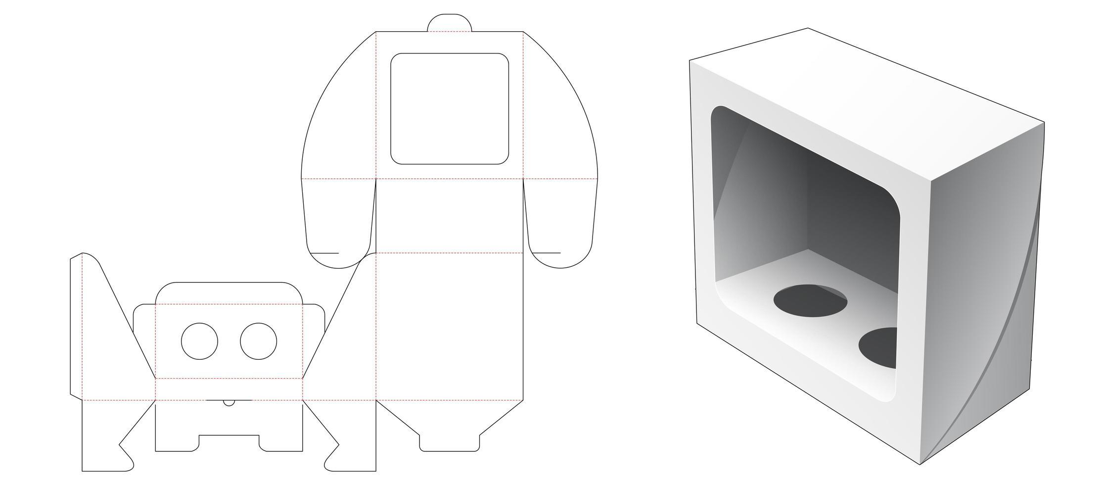 Caixa de cosméticos de 1 peça com janela vetor