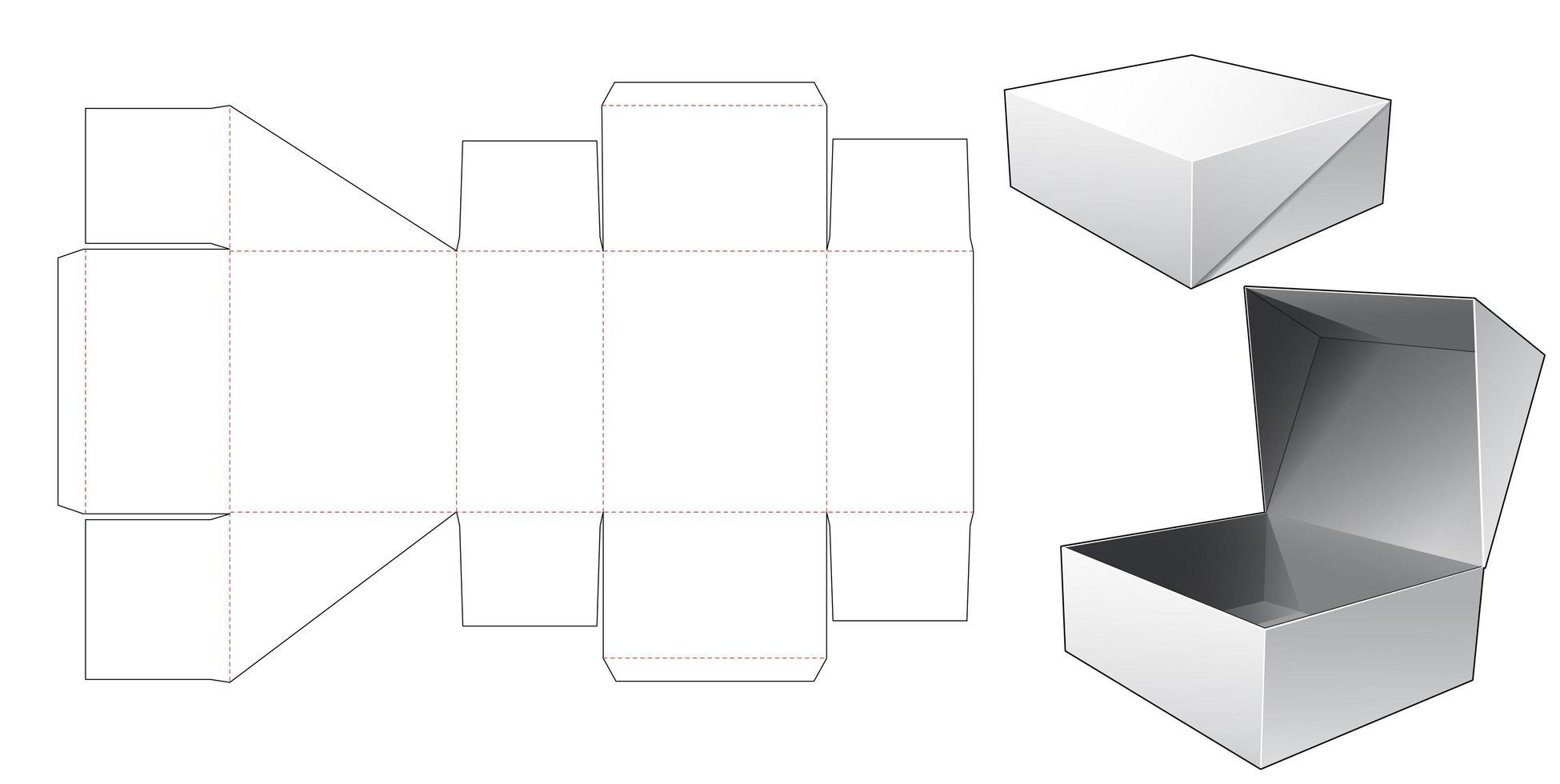 Caixa de embalagem de 1 peça com tampa vetor
