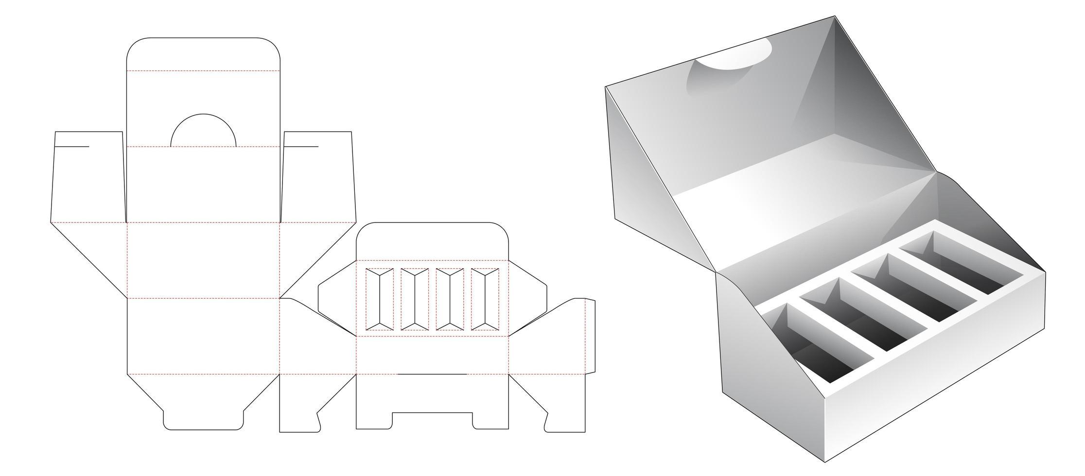 Embalagem de 1 peça com suporte de inserção múltipla vetor