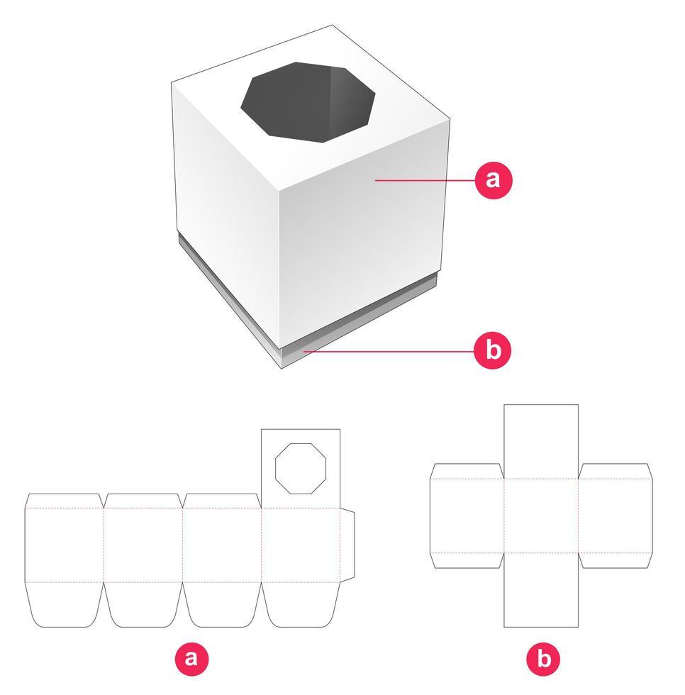 caixa de presente e tampa com janela octogonal vetor