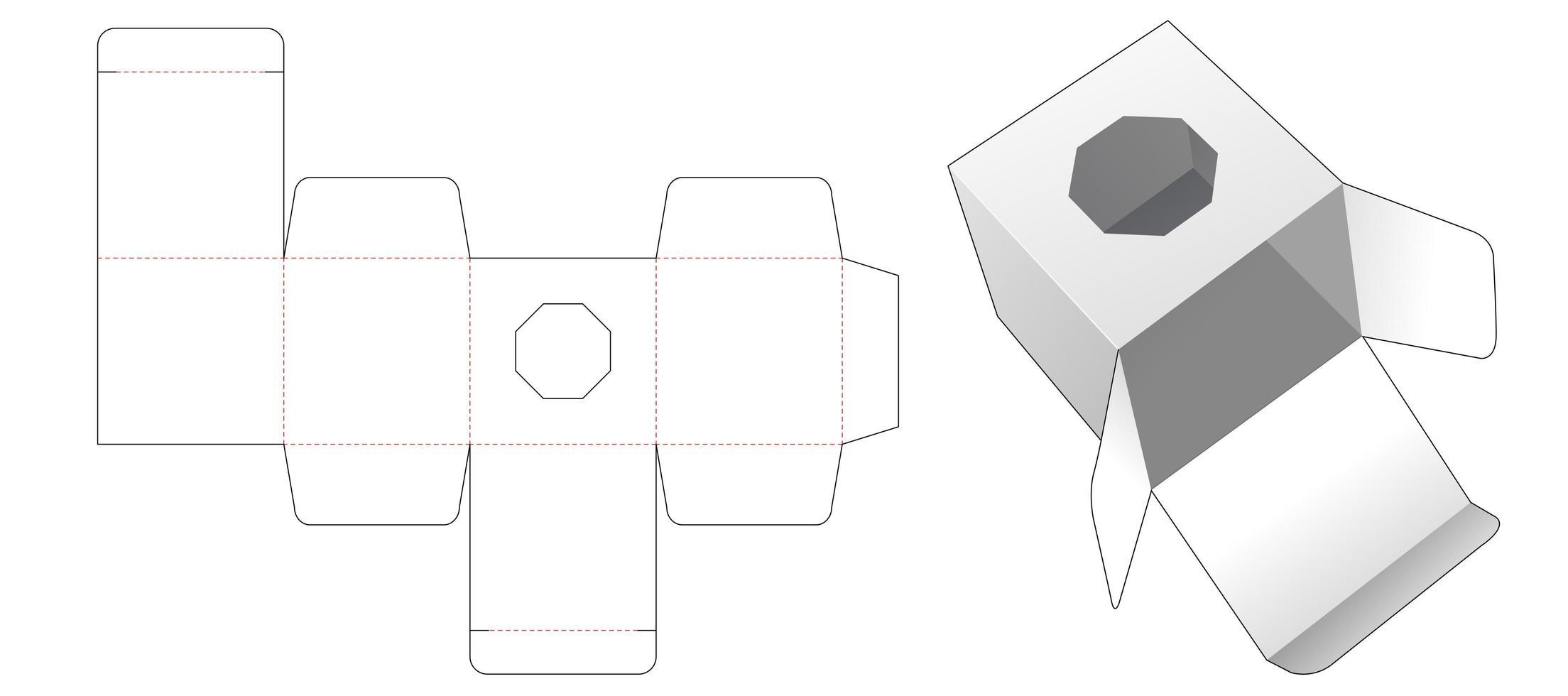 caixa de presente com janela octogonal vetor