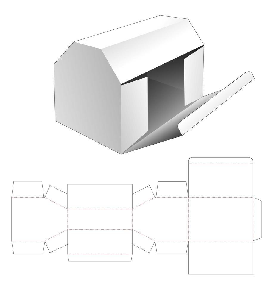 embalagem em forma de casa com ponto de abertura lateral vetor