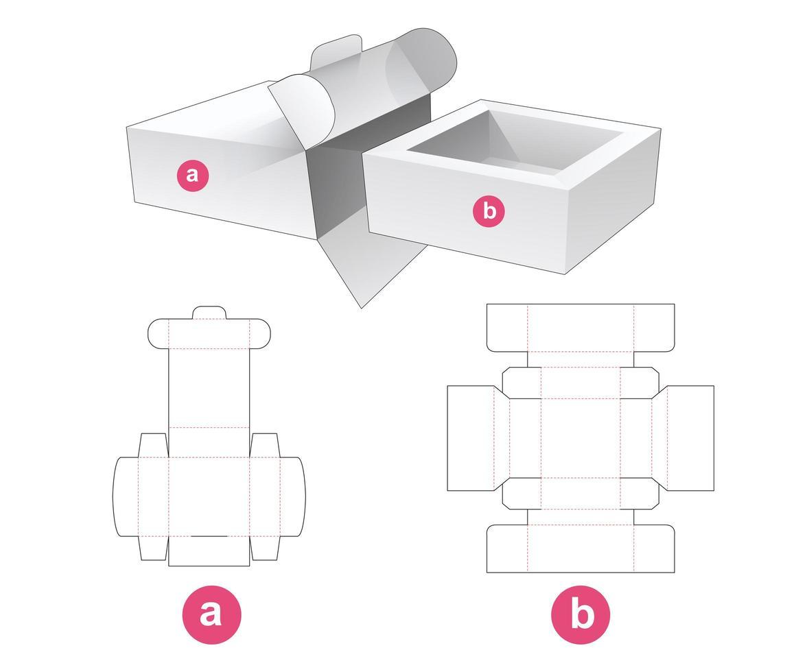 caixa de embalagem quadrada com janela e tampa vetor
