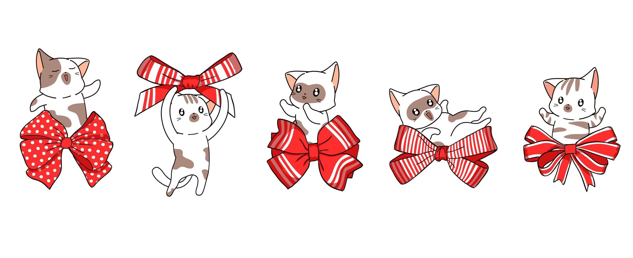 5 gatos com laços vermelhos vetor