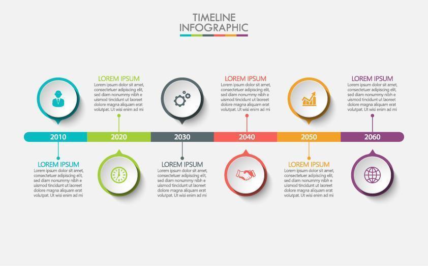 infográfico de cronograma colorido com 6 opções de círculo vetor