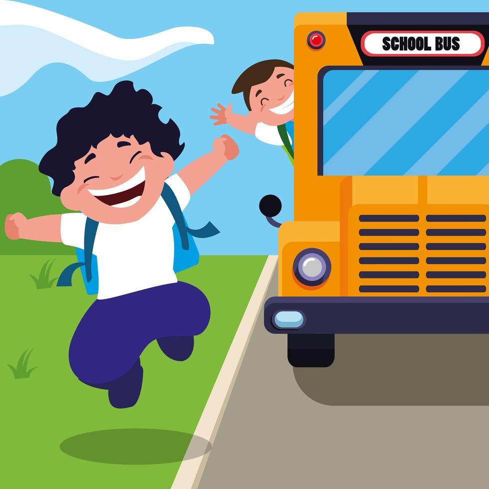 alunos na cena do ônibus escolar vetor