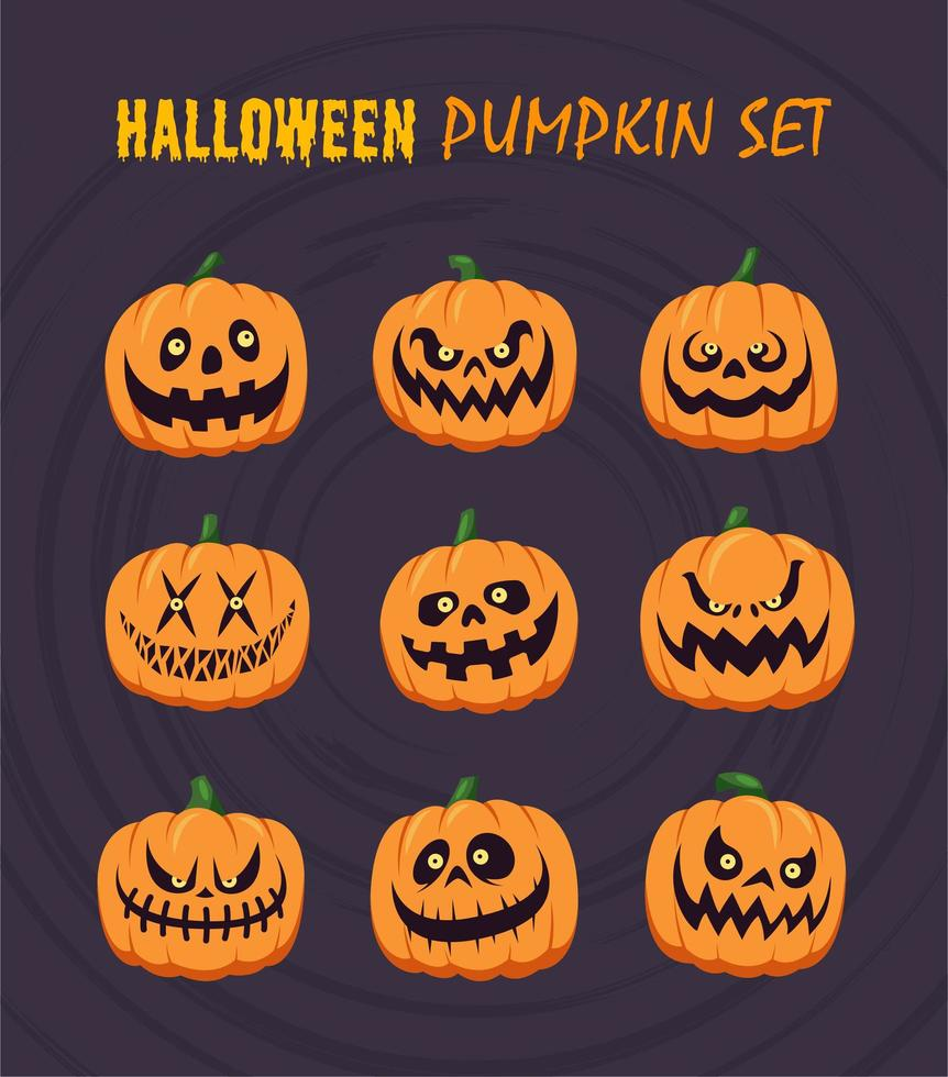 conjunto de abóboras de halloween vetor