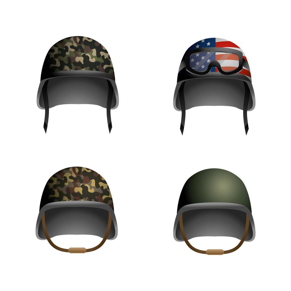 conjunto de capacetes militares vetor