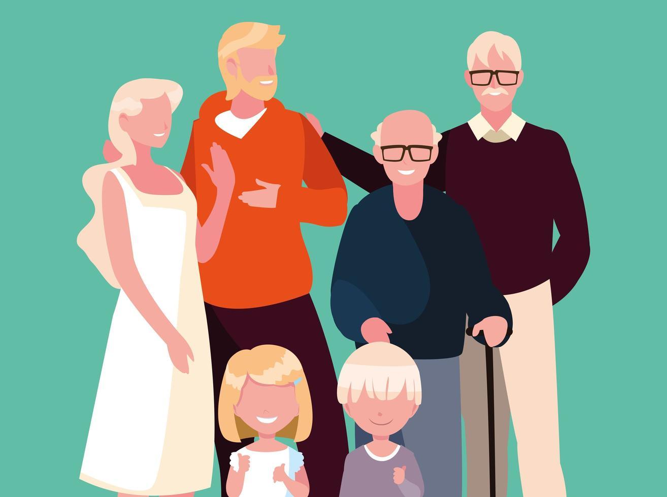 personagem de avatar fofo de membros da família vetor