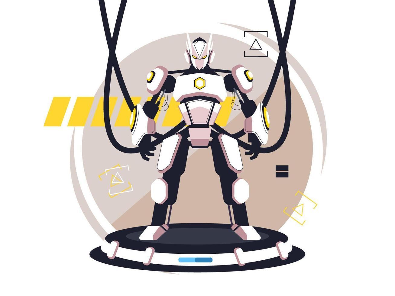 personagem robô plano amarelo e branco vetor
