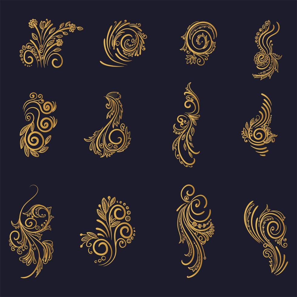 lindo conjunto floral decorativo dourado artístico vetor