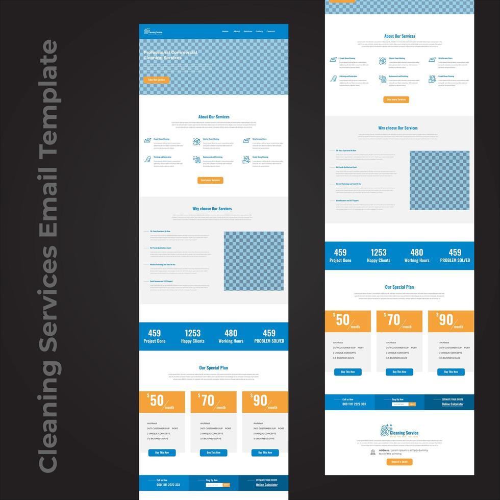design de página de modelo de e-mail de serviço de limpeza vetor
