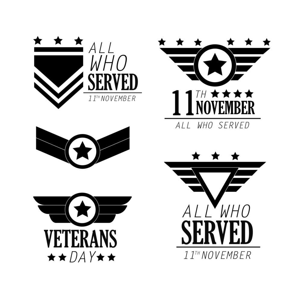 conjunto de emblemas de comemoração do dia dos veteranos vetor