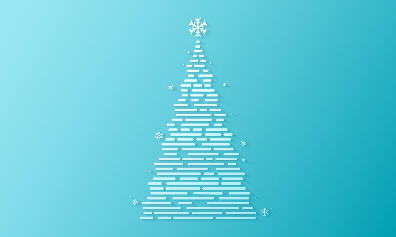 desenho de árvore branca de natal em gradiente azul vetor